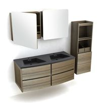 - Ensemble meuble vasque bois L120cm + 2 armoires de toilette + colonne Fairway