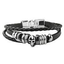 Bijoux&M - Bracelet cuir tresse fermoir et tête de mort en acier