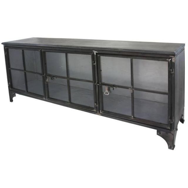 chemin de campagne enfilade bahut buffet meuble tele tv meuble industriel fer metal verre. Black Bedroom Furniture Sets. Home Design Ideas