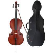 Classic Cantabile - Violoncelle étudiant Comfort 4/4 Set y compris archet, poche avec caisse et roulettes