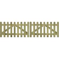 Rocambolesk - Superbe portail piquet en bois imprégné 2 pcs 300 x 80 cm neuf