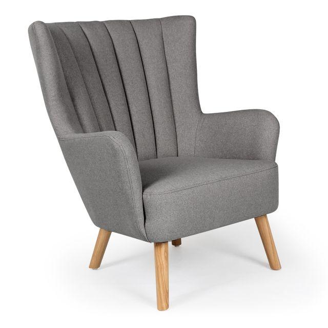 menzzo fauteuil scandinave vidal gris pas cher achat vente fauteuils rueducommerce. Black Bedroom Furniture Sets. Home Design Ideas