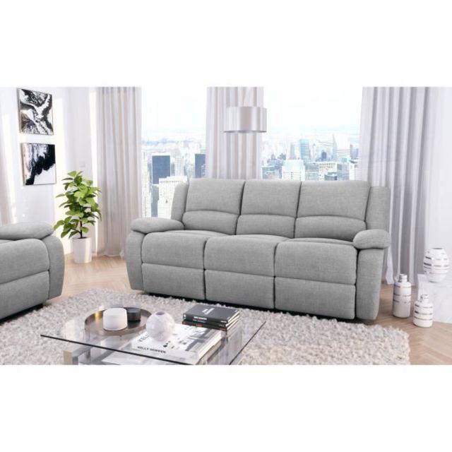 No Name Canape - Sofa - Divan Relax Canapé de relaxation 3 places - Tissu gris clair - L190 x P93 cm