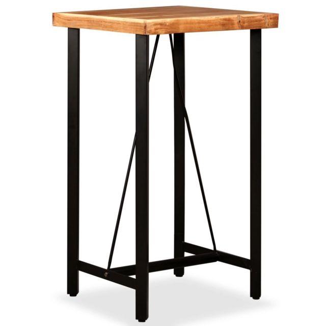 Vidaxl Bois Massif de Sesham Table de Bar 60x60x107 cm Cuisine Salle à Manger