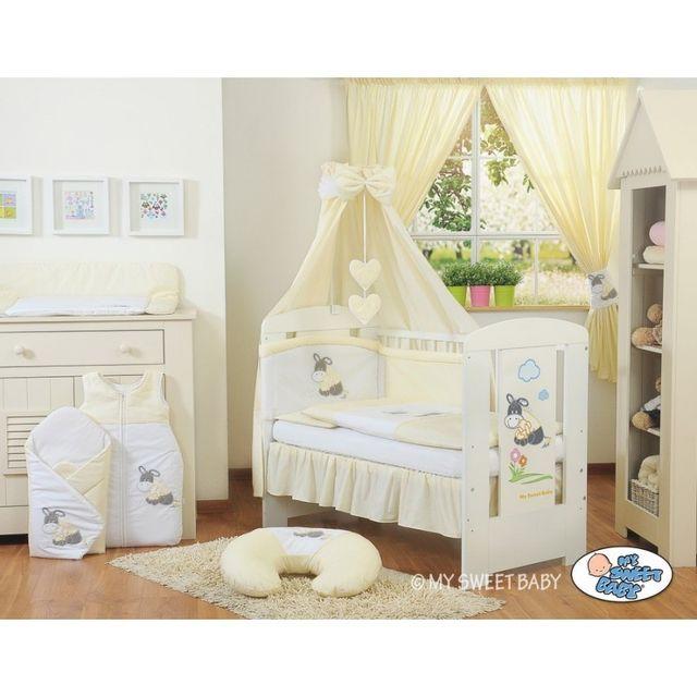 Autre Lit et parure de lit bébé âne crème jaune ciel de lit coton 120 60