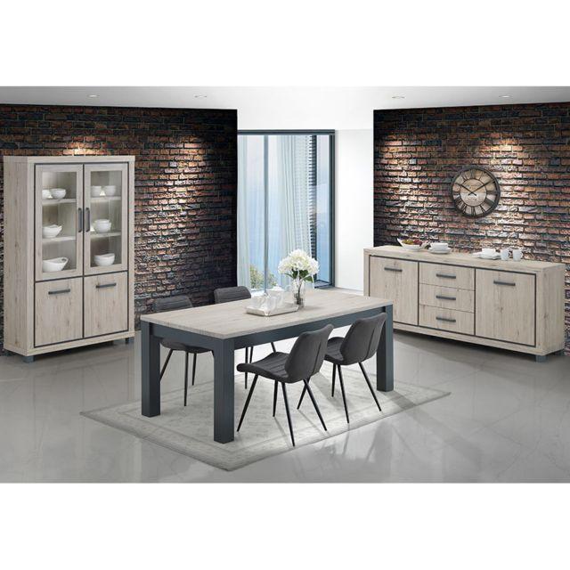 Nouvomeuble Salle à manger complète avec 4 chaises couleur chêne naturel et gris Eleonore