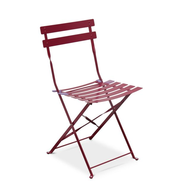 Salon de jardin bistrot pliable - Emilia rectangulaire bordeaux - Table  110x70cm avec quatre chaises pliantes, acier thermolaqué