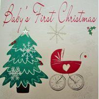 White Cotton Cards - Baby'S First Christmas Carte Faite À La Main