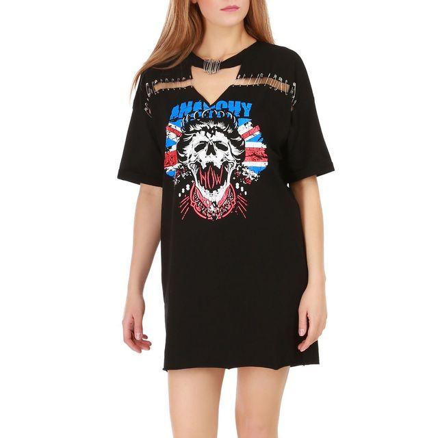 40dccafc44aba Lamodeuse - Robe t-shirt noire destroy imprimé grunge - pas cher ...