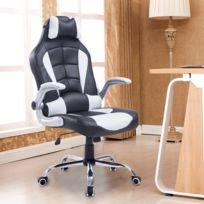 HOMCOM - Fauteuil/chaise de bureau modèle baquet de course grand confort hauteur/inclinaison dossier réglables blanc et noir 23WT