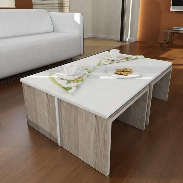 Alphamoebel Table basse Chest blanc-cordoba 32x90x60 cm
