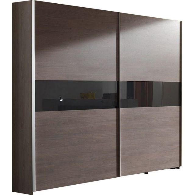 Comforium armoire 250 cm en bois avec porte coulissante for Armoire penderie avec portes coulissantes