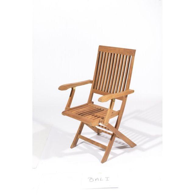 MARQUE GENERIQUE Fauteuil en teck BALI L.56,5 x l.49 x H.97 cm