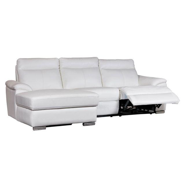 Momentime Canapé d'angle en cuir avec 2 assises relax électriques Bastia - Blanc - Gauche