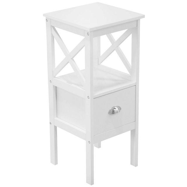 promobo meuble table de chevet 1 tiroir 1 etagre bois collection tropic pawlonia blanc pas cher achat vente etagres rueducommerce - Etagere Table De Nuit