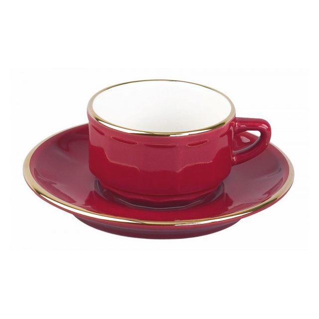 Apilco ( groupe Deshoulieres) - les 6 tasses et soucoupes à café moka empilables Rouge filet Or-Flora par Apilco