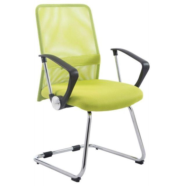 Decoshop26 Chaise fauteuil de bureau avec accoudoirs en maille vert sans roulette Bur10190