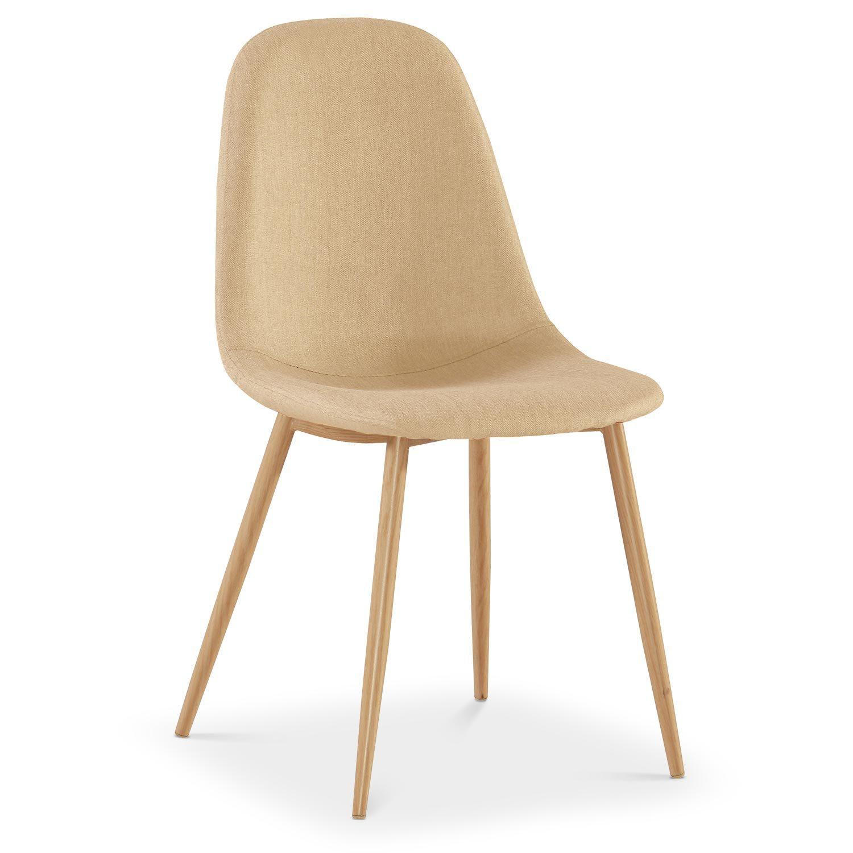 Lot de 4 chaises scandinaves Gao Tissu Beige