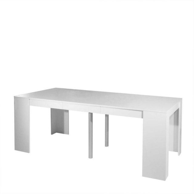 Inside 75 Console Elasto Blanc mat, extensible en table repas 10 couverts