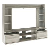 comforium meuble tv mural moderne avec tagres coloris chne gris