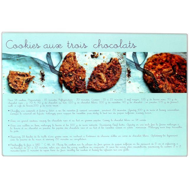 Promobo Planche A Découper En Verre Design Gourmand Recette Cookies Trois Chocolats 20x30cm