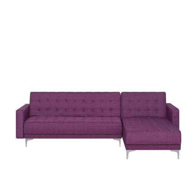 BELIANI Canapé angle gauche convertible en tissu violet ABERDEEN - violet
