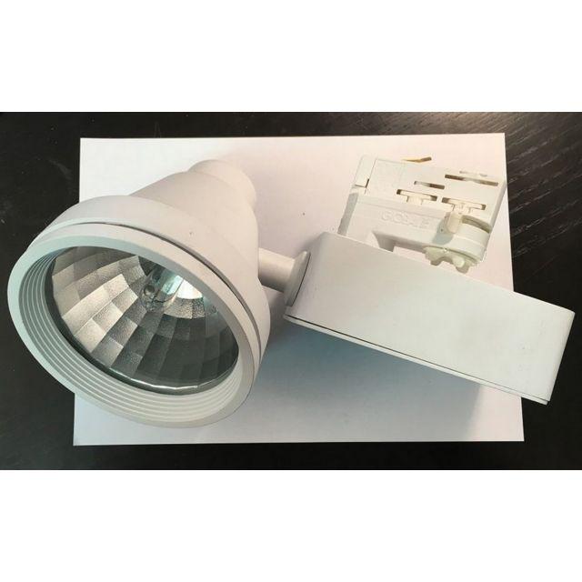 Spot pour rail Noa Alumnium - Ampoule iodure - Blanc