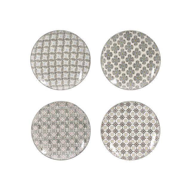 Table Passion Assiettes plates en céramique D.26cm motifs ethniques gris - Coffret de 4 pièces Santiago