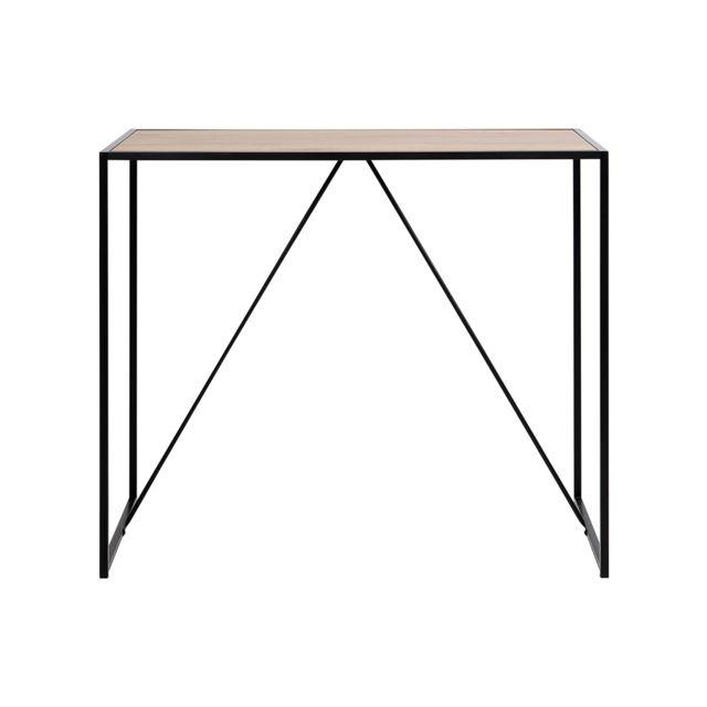 Miliboo Table de bar en bois et pieds en métal noir Tresca