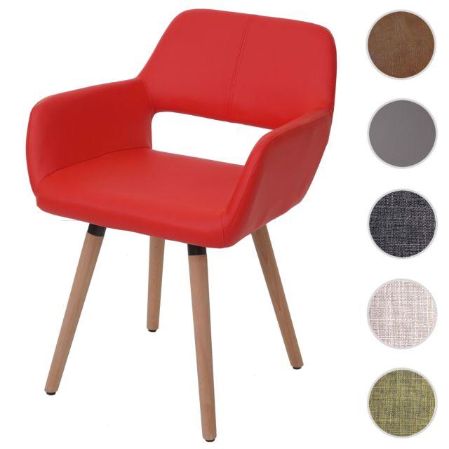 Mendler Chaise de salle à manger Hwc-a50 Ii, fauteuil, design rétro des années 50 ~ similicuir, rouge