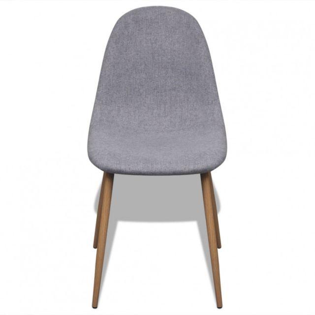 Maja+ - 2 Chaises en tissu et pieds en fer pour salle à manger Gris ...