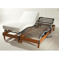 Lovea - Ensemble relaxation matelas 100% latex 5 zones + sommier avec réglage fermeté au niveau lombaire