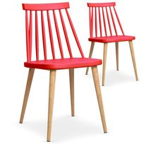"Paris Prix - Lot de 2 Chaises Scandinave ""Beaune"" 77cm Rouge"