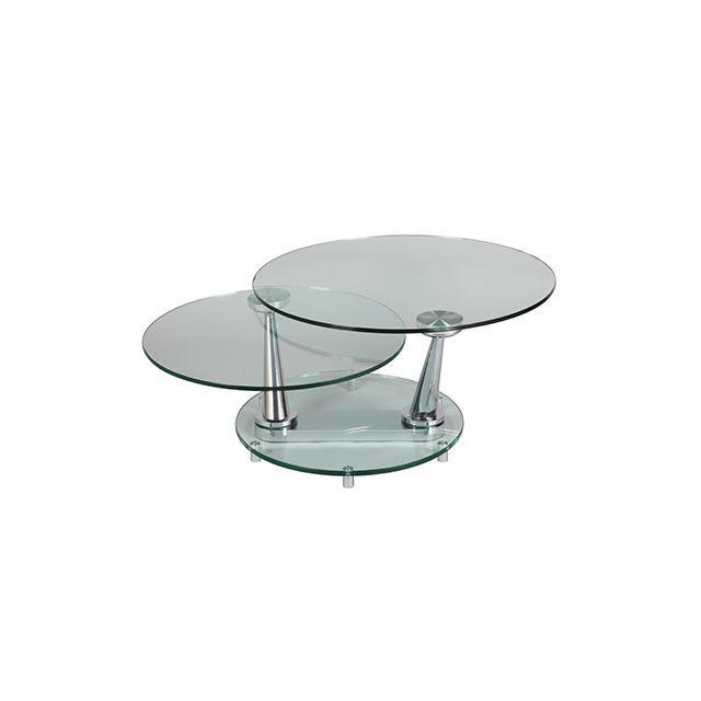 Table basse ovale en verre trempé Glass