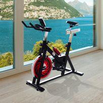 HOMCOM - Vélo d'appartement d'exercice professionnel écran de contrôle multifonction LCD noir 70