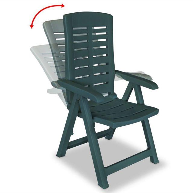 Chaises inclinables de jardin 6 pcs Plastique Vert