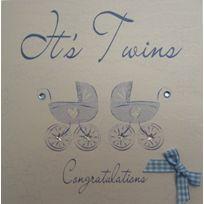 White Cotton Cards - Faire-part De Naissance Fait Main Inscription It'S Twins Congratulations Motif Landaus Bleus