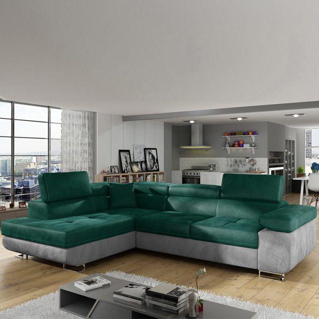 Sofamobili Grand canapé angle gauche vert foncé et gris Scott