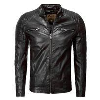 Freeside - Veste stylé en cuir homme Veste 1004 noir
