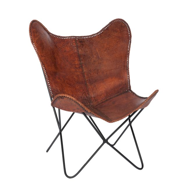 Autre - Fauteuil vintage en fer et cuir vieilli - coloris marron