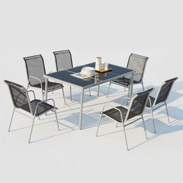 concept usine lusiana 6 places ensemble de jardin en acier inoxydable gris et textilne - Ensemble De Jardin