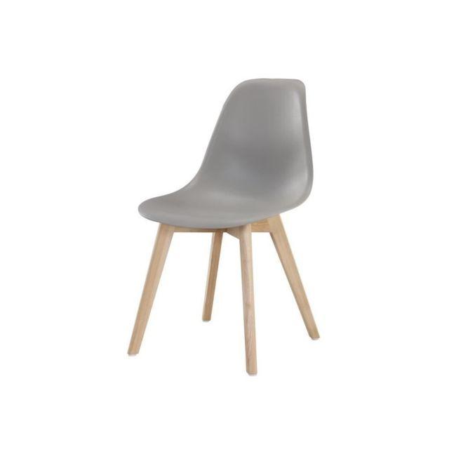 SACHA Chaise de salle a manger gris Pieds en bois hévéa massif Scandinave L 48 x P 55 cm