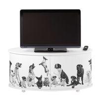- Meuble Tv classeur rideau decor dog blanc