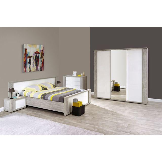 Altobuy Stella - Chambre 160x200cm avec Armoire 220cm