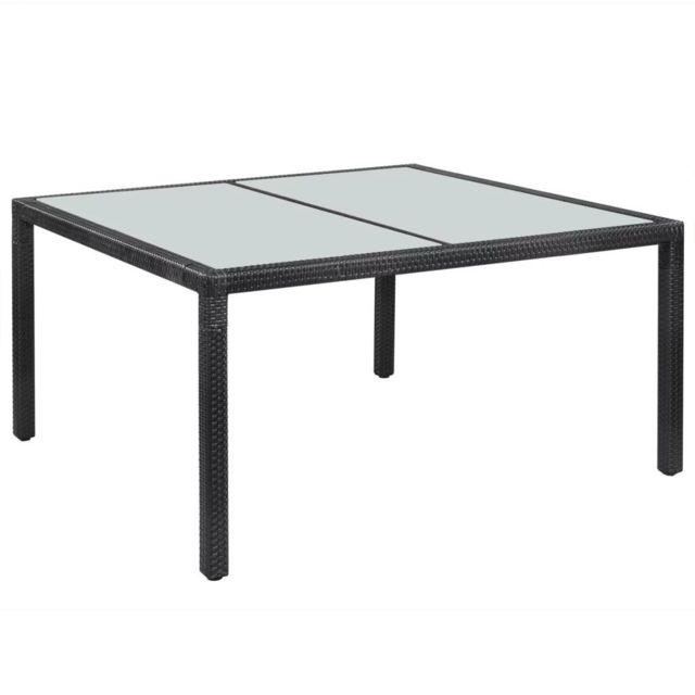 Uco Table de jardin Noir 150x90x75 cm Résine tressée