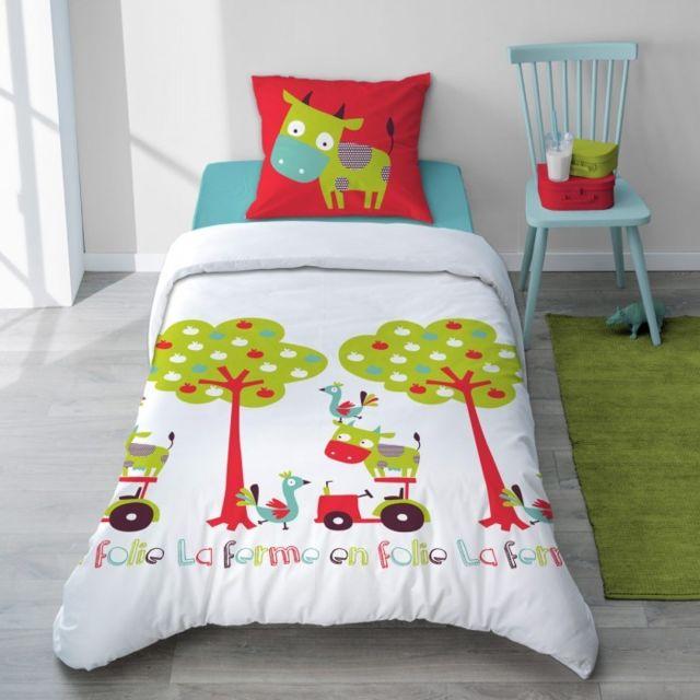 selene et gaia parure housse couette vache vert et rouge en coton pour enfant hola vache. Black Bedroom Furniture Sets. Home Design Ideas
