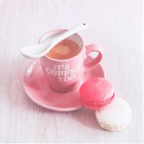 Atmosphera - Toile imprimée Macaron - 28 x 28 cm - Macaron tasse