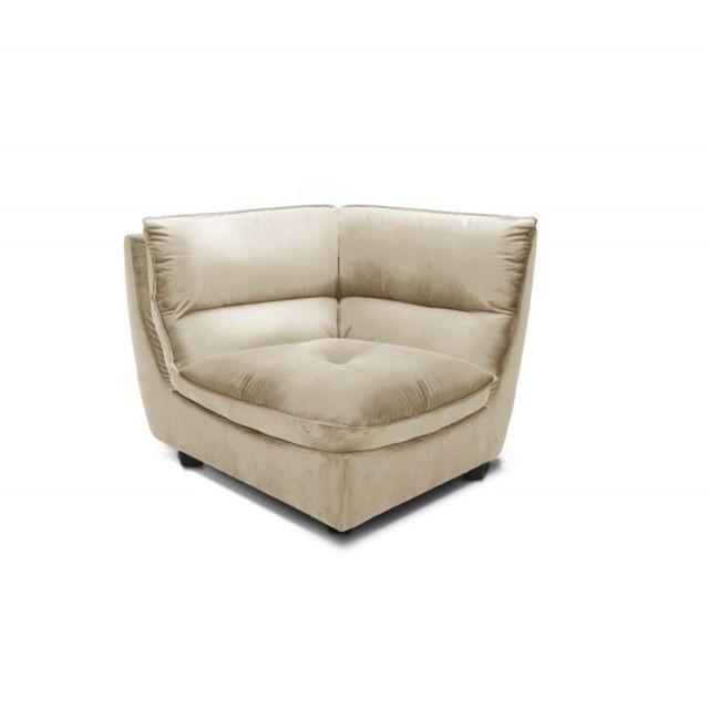 Meubletmoi Angle Beige pour canapé modulable - tissu velours doux - ultra confortable moelleux - Kaya