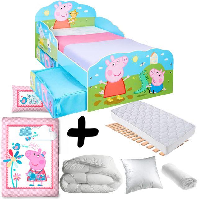 Bebe Gavroche Pack complet Premium Lit Peppa Pig Famille avec tiroirs = Lit+Matelas & Parure+Couette+Oreiller