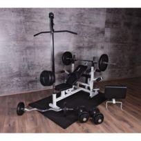 Gorilla Sports - Ensemble Universel Power Station 46 éléments - banc, poulie, poids, barres, tapis protéction